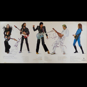 myRockworld memorabilia: Roxy Music, Album For your pleasure, 1973 - very rare - inside signed by Brian Eno, Bryan Ferry, Phil Manzanera and Andy Mackay