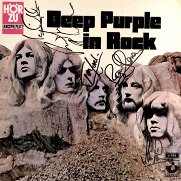 myRockworld memorabilia - Deep Purple -Album In Rock, 1970, ultra rare - 3 times signed by Ian Gillan, Ritchie Blackmoore, John Lord ( R.I.P.), Roger Glover and Ian Paice on the cover, on the back and inside